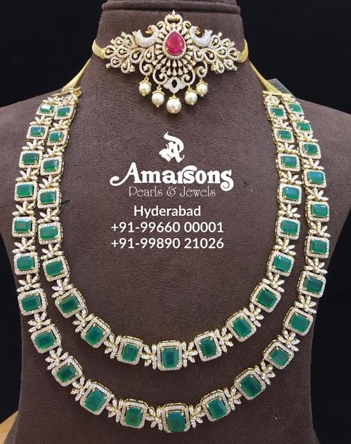 Peacock Diamond Choker Long Haram