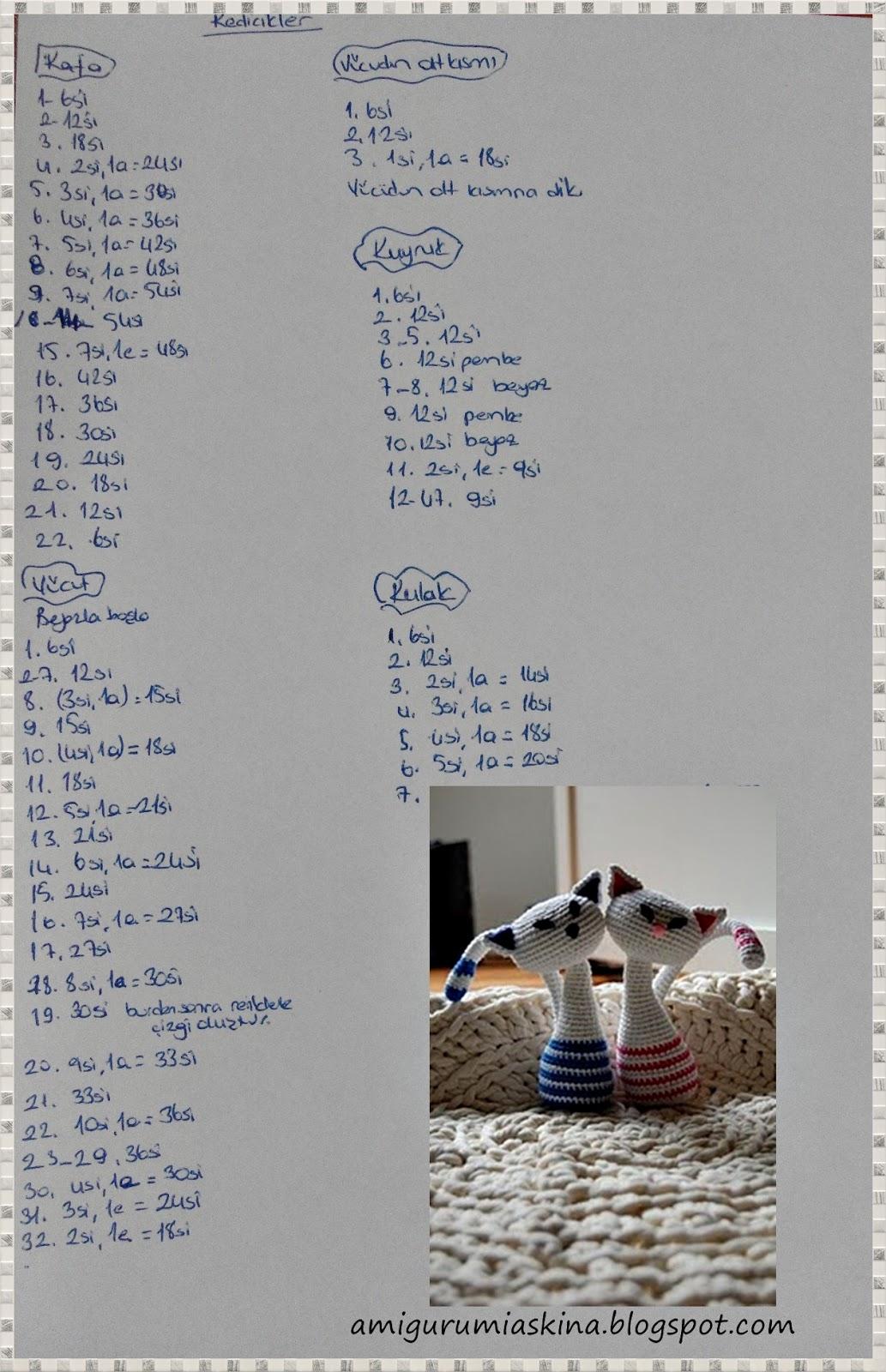 Amigurumi Büyük Boy Kedi Yapımı Tarifi | Tığ desenleri, Kedi ... | 1600x1033