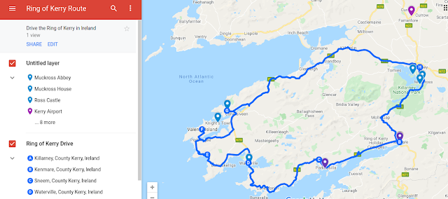Map of the Ring of Kerry Route