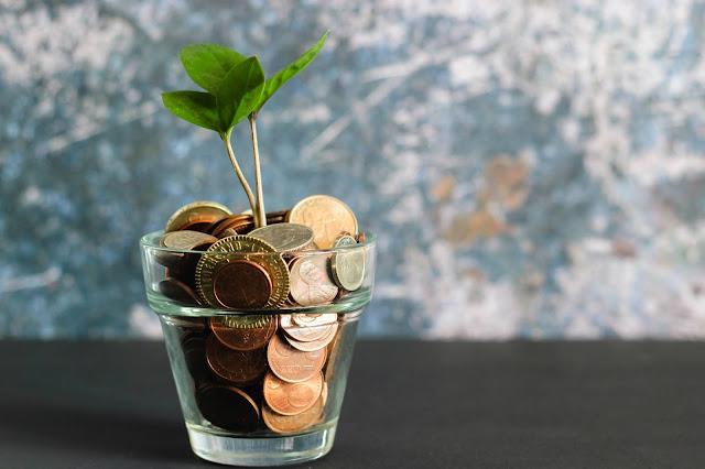 Ett glas med pengar som det växer en växt ur.