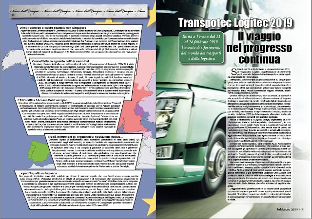 FEBBRAIO 2019 PAG. 9 - Transpotec Logitec 2019 Il viaggio nel progresso continua
