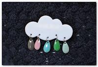 broche nuage et gouttes gris bleu vert parme