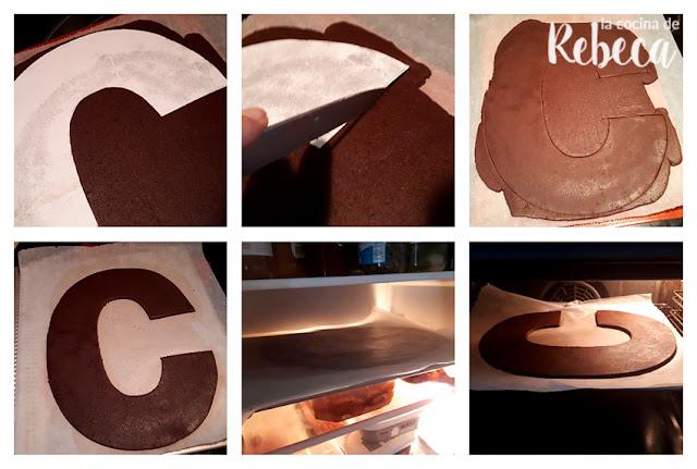 Receta tarta abecedario de chocolate de galleta y crema: corte y horneado de la masa