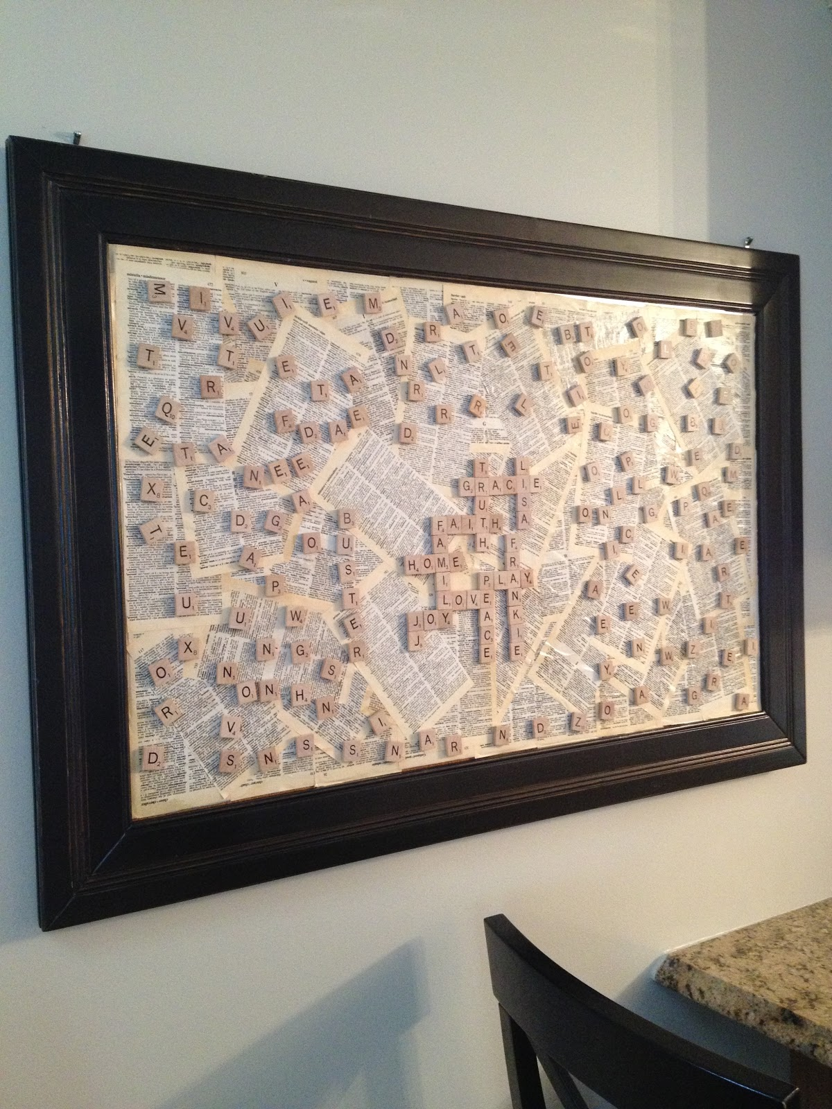 Gracie Blue Wall Art For The Kitchen Scrabble Board Diy