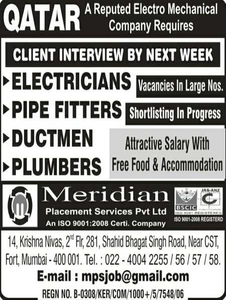 Large Number of Job Vacancies in an Electromechanical Company Qatar - Meridian Placement Services
