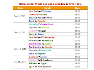 Hockey Junior World Cup 2016 Schedule & Time Table,2016 Men's Hockey Junior World Cup Schedule & Time Table,FIH world cup 2016 schedule,Hockey Junior World Cup 2016 india host,Hockey Junior World Cup 2016 teams,Hockey Junior World Cup 2016 live streaming,score,Hockey Junior World Cup 2016 teams & players,hokey,Hockey world cup schedule,Hockey 2016,women's Hockey world cup 2016,full schedule,fixture,time table,IST time,GST time,local time,match detail,Hockey WC 2016 schedule,indian time,all teams 2016 Men's Hockey Junior World Cup Schedule & Time Table  Teams New Zealand, Japan, Germany, Spain, England, South Africa, India, Canada, Australia, South Korea, Argentina, Austria, Belgium, Egypt,  Netherlands, Pakistan