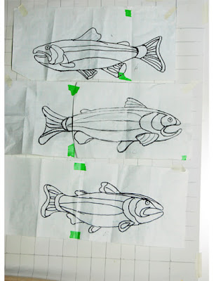 sketches of trout for trout quilt, dedign by Kenneth Lund Quilt frames