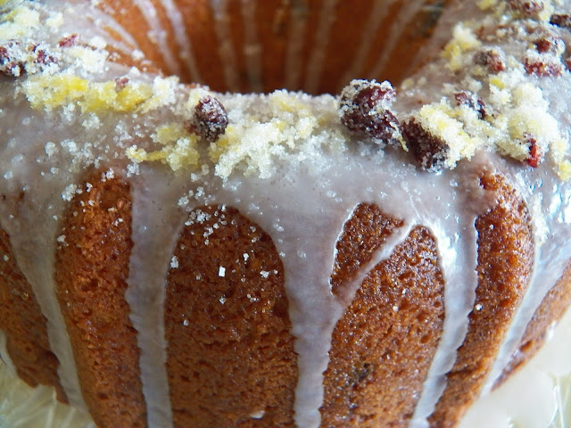 Triple Lemon and Dried Cranberry Bundt Cake