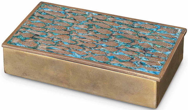 a Line Vautrin box 1955 with fishes design