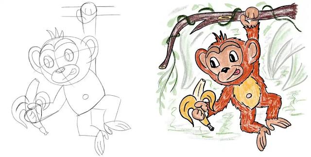 رسم قرد يأكل موزة