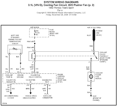1996 mazda millenia wiring diagram and electrical system 1992 pontiac trans sport 3.1l (vin d), cooling fan circuit ...