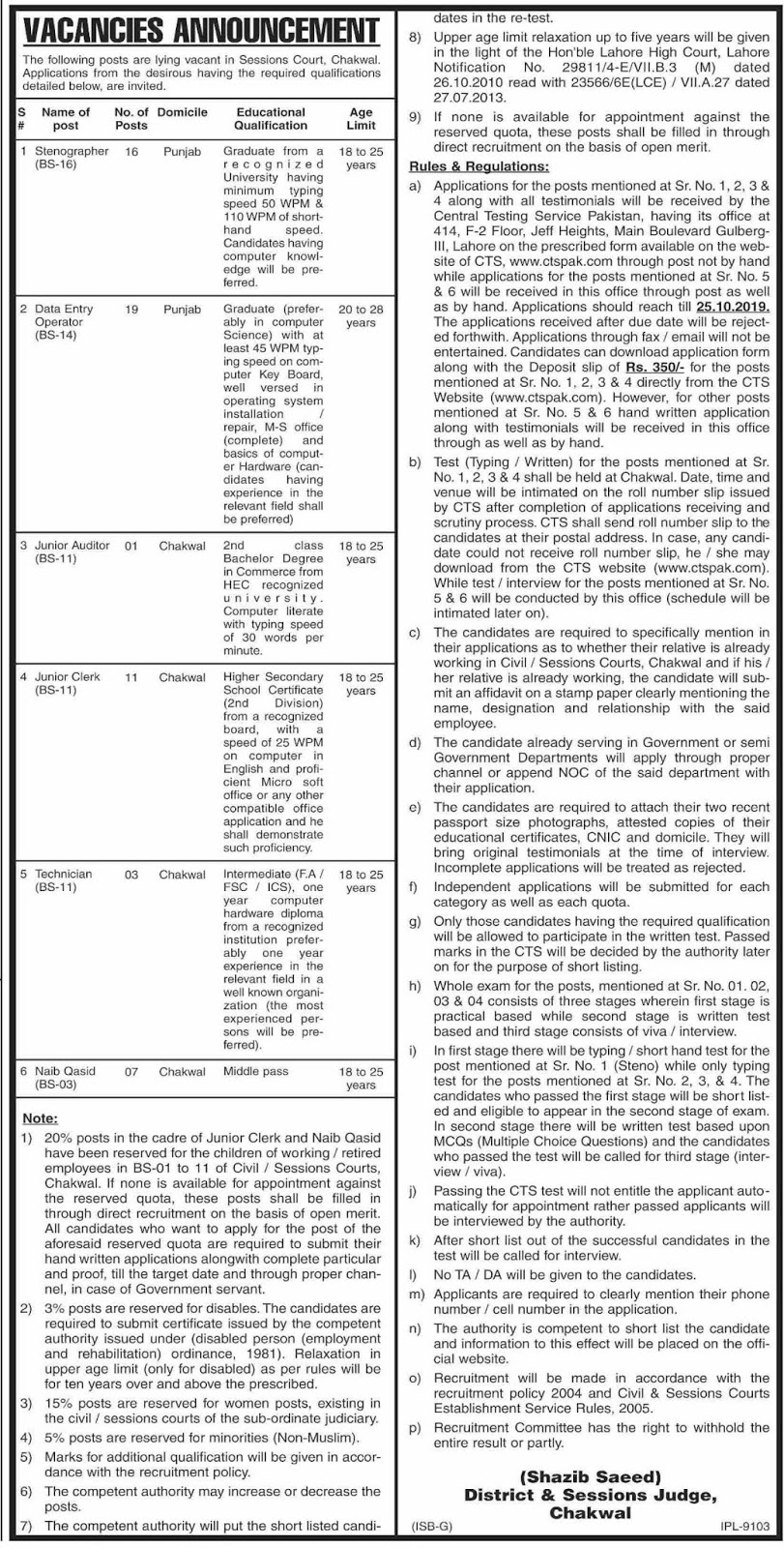 Govt Jobs in Chakwal in District & Session Court Oct 2019