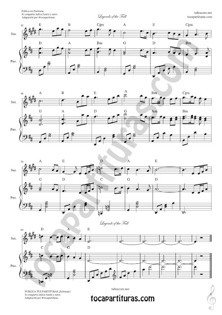 3 Leyendas de Pasión Partitura de Saxofón Tenor y Saxo Soprano Legends of the Fall Sheet Music for Tenor & Soprano Saxophone