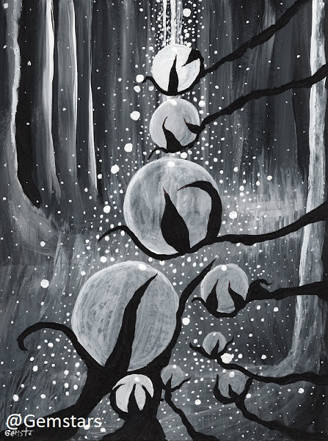 Midnight Forest Dream Path acrylic painting