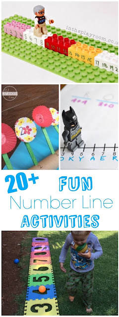 20 FUN Math Number Line Activities - so many unique, fun, educational games for kids to learn about number sequences for kindergarten, first grade, 2nd grade, and 3rd grade kids. Fun for math centers, homeschool, summer learning, and hands on learning.