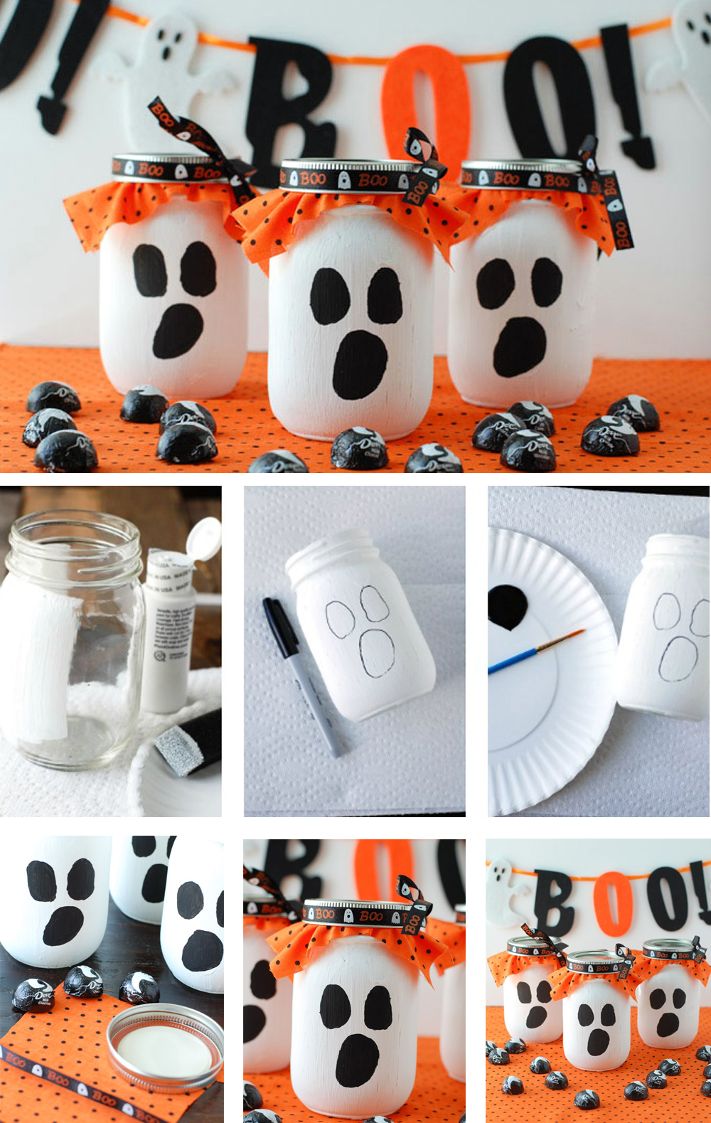 diy para gacer en halloween con tarros fantasmas terroríficos con caramelos para regalar fácil y económico