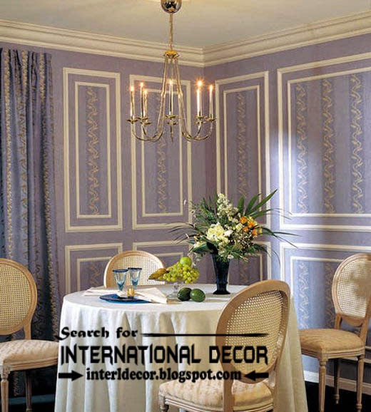stylish wall molding designs ideas and panels in purple interior