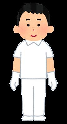 個人防護具のイラスト(白衣・男性)