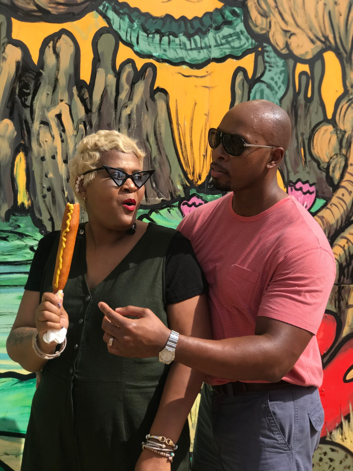 Image: Tangie and her husband Richard Bell having fun in the city eating junk food and capping off the summer