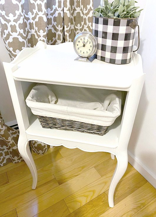 Farmhouse style painted night stand with basket storage