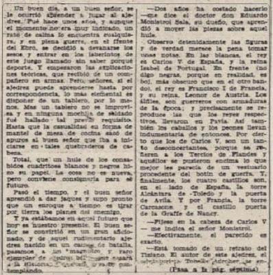 Historia de un ajedrez con historia (Semanario Ramblas, 8 de abril de 1946)