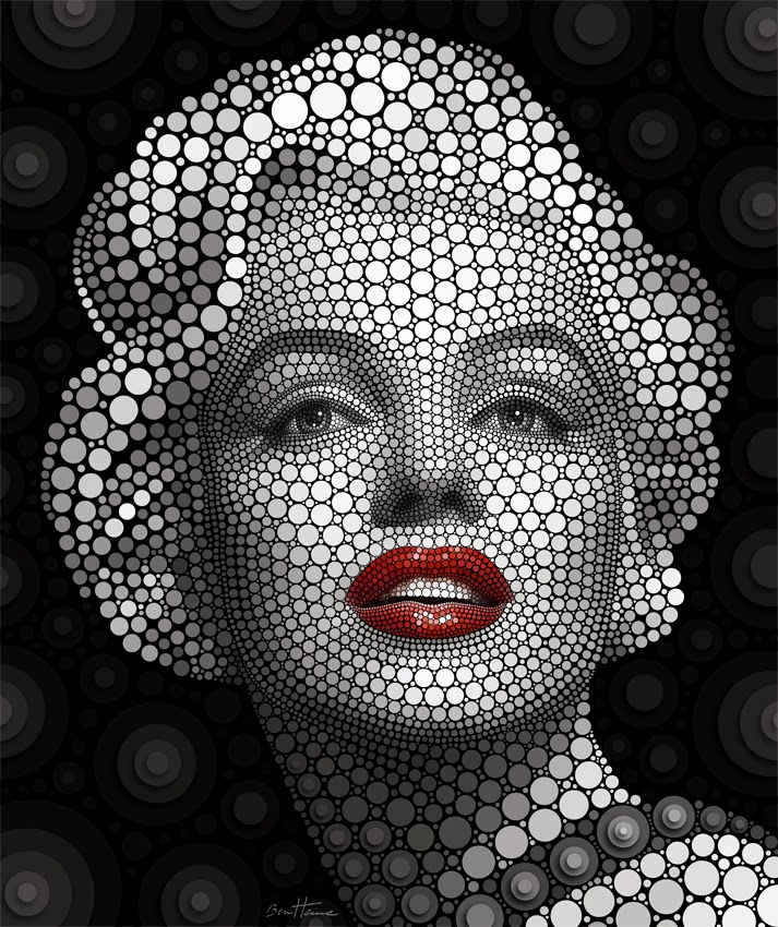 08-Marilyn-Monroe-Ben-Heine-Painting-&-Sculpture-Digital-Circlism-Portraits-www-designstack-co