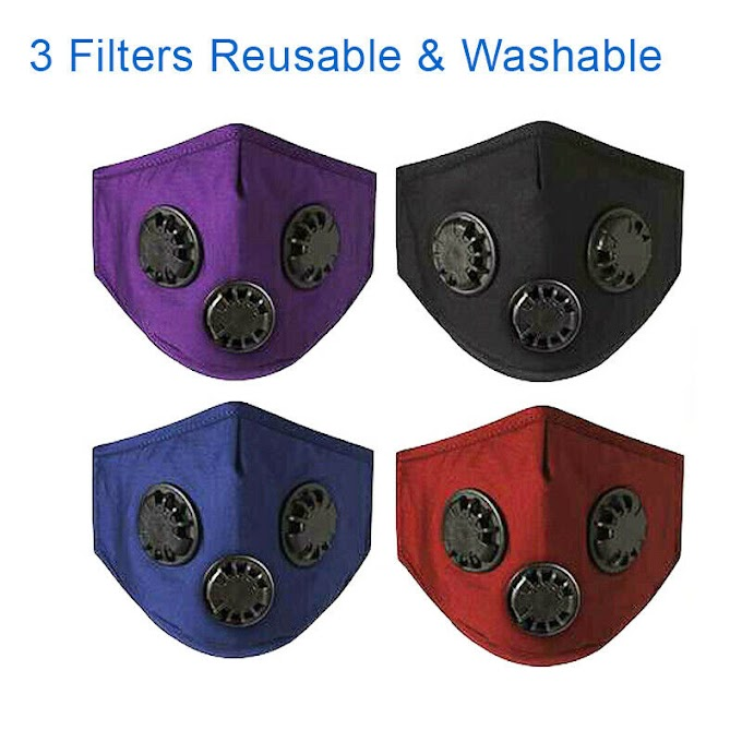 Reusable 3 Valve Filters Face Mask Cotton Air Purifying Masks