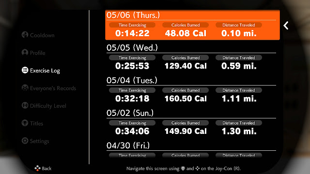 Ring Fit Adventure Exercise Log Week World 38 Extra Fitness lv. 238