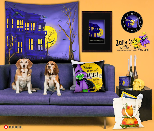 Don't wait for a full moon to check out Annie Lang's exclusive Jolly Jacks and Witchy Moons designer collection from Redbubble today!