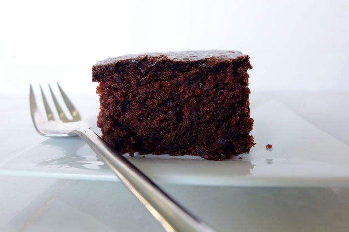 slice of chocolate cake viewed from side
