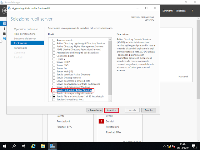 Windows Server 2019, Ruoli server, Servizi di dominio Active Directory