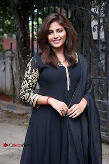 Anjali Latest Stills in Black Anarkali Dress at Taramani Success Meet