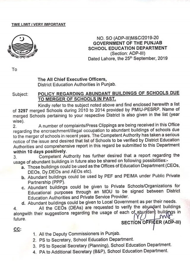 POLICY REGARDING ABUNDANT BUILDING OF SCHOOLS DUE TO MERGER OF SCHOOLS IN PAST