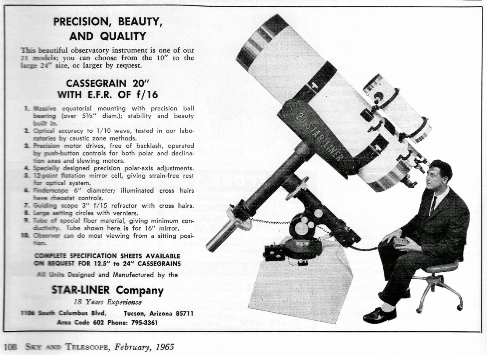 Astronomy Ad of the Day: FEBRUARY, 1965 (Sky & Telescope)
