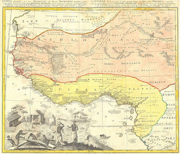 Map of West Africa showing it as Aethiopa & Guinea