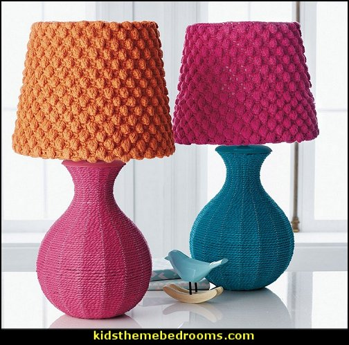 Chindi Lamp Base fun and funky - cute and colorful - chic and trendy decorating ideas - unique decor - girls bedroom decor boho style