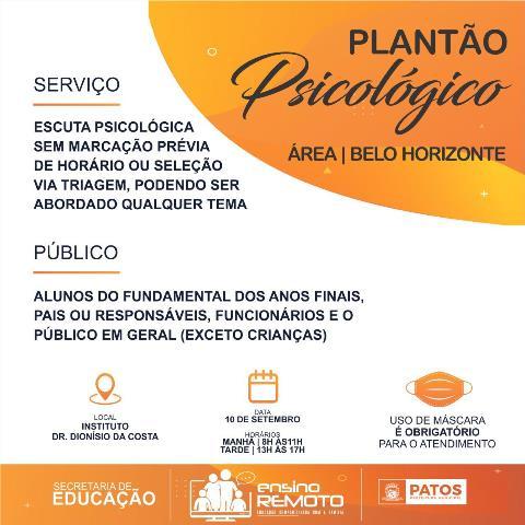 Setembro Amarelo: Plantão psicológico terá início nesta quinta (10) na Escola Dr° Dionísio da Costa