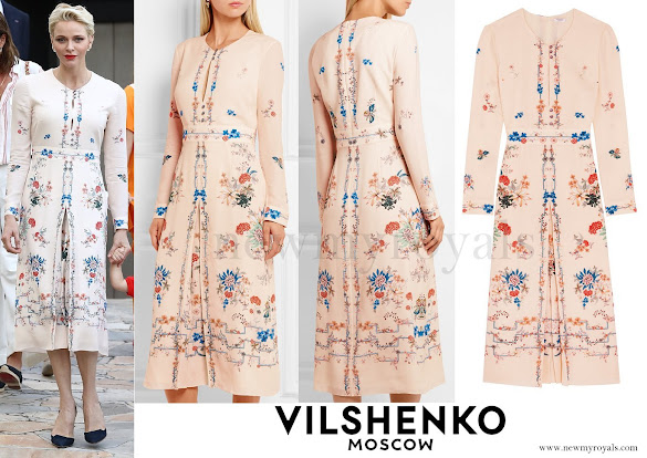 Princess Charlene wore a Jery Floral Print Dress by Vilshenko
