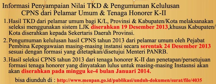 Informasi Pengumuman Hasil Tes K2 Tahun 2013 Pusat Pengumuman Cpns Indonesia Ppci Penerimaan Casn 135kb Info Terbaru Pengumuman K2 10 02 2014 Pengumuman Hasil Seleksi