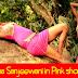 sareetha sanjeewani in pink short forck