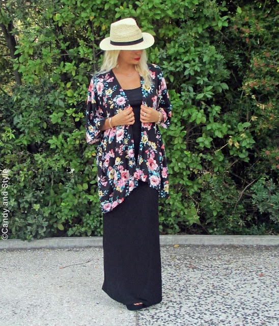 StrawFedora+FloralKimono+MaxiSkirt+SuedeSandals+BeachWaves+RedLips - Lilli Candy and Style Fashion Blog
