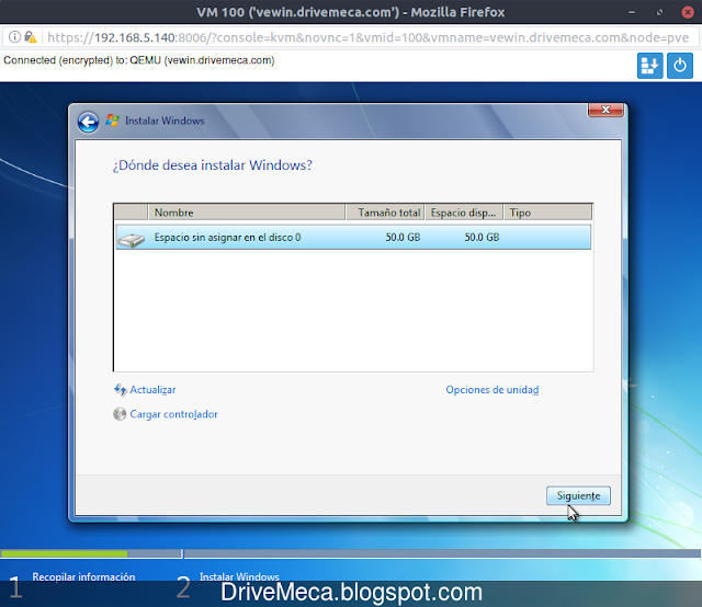Instalando maquina virtual KVM de Windows