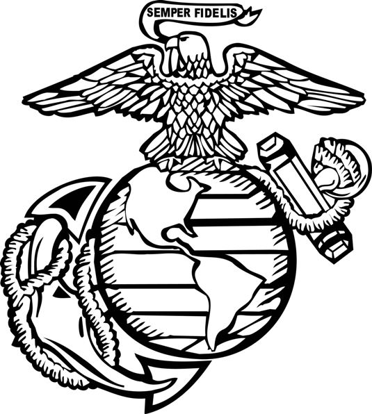 Marine corps symbol pencil coloring pages for Marine coloring pages