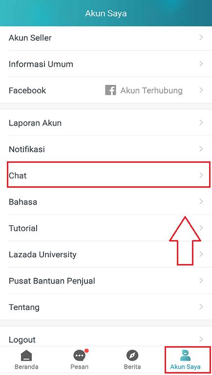 Pengaturan Chat Pada Menu Akun Saya di Aplikasi Lazada Seller Center.
