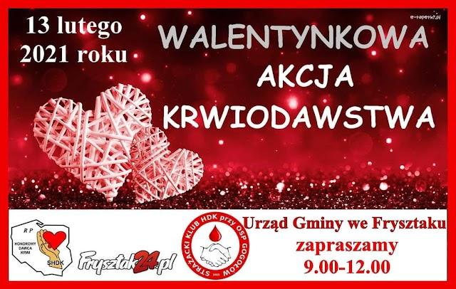 Walentynkowa akcja krwiodawstwa we Frysztaku