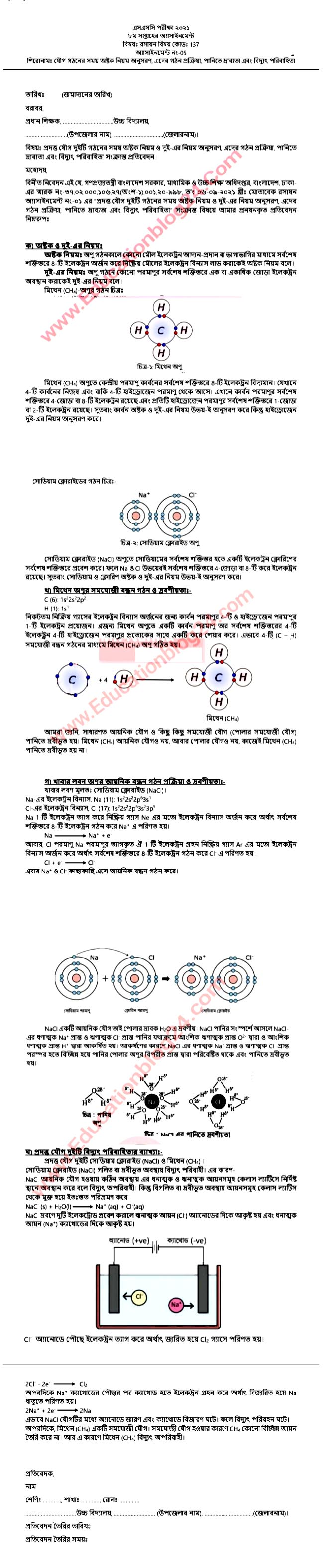 Dakhil Chemistry Assignment Answer 2021 pdf download 1
