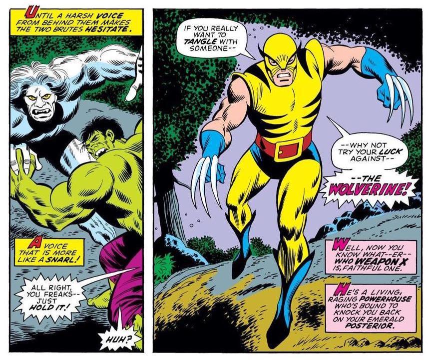 Hulk battling Wendigo as Wolverine makes the scene