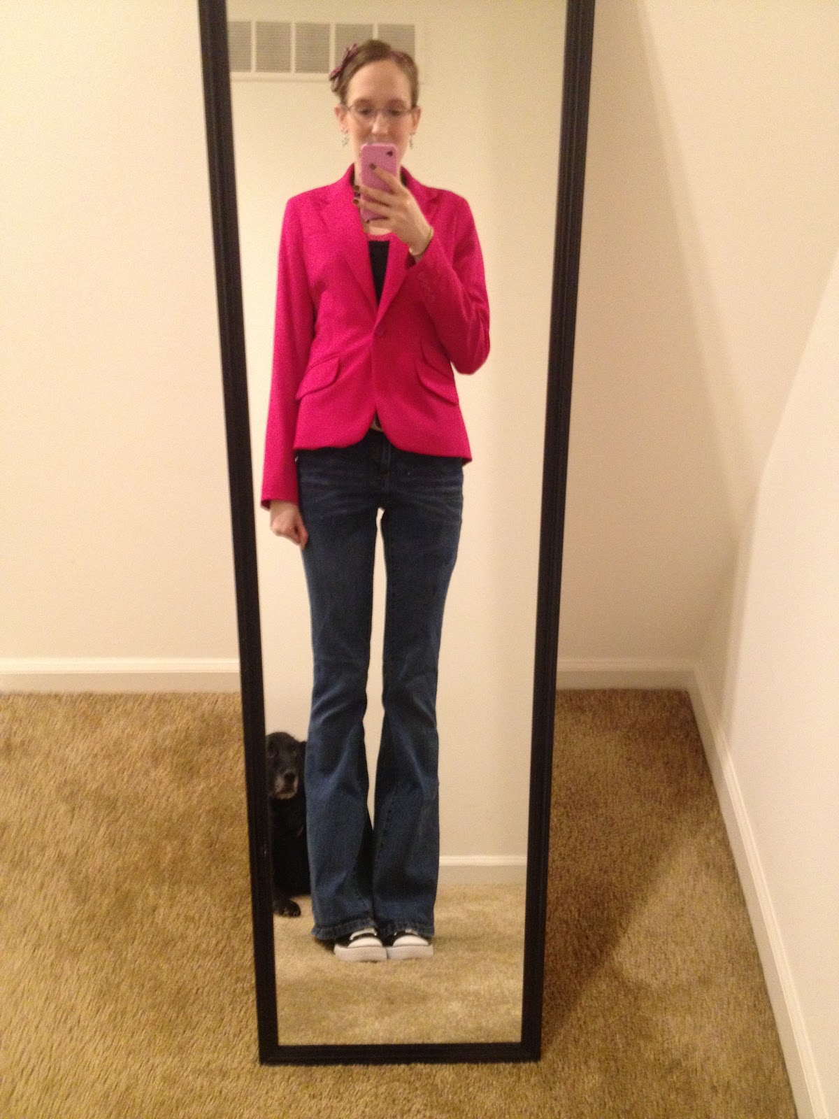 amy fashion inspiration monday pink blazer work outfit