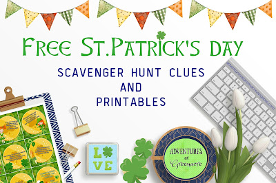 Free St.Patrick's day scavenger hunt clues and printables