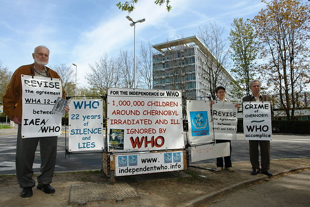 Protesters in front of the World Health Organization headquarters in Geneva, Switzerland in 2008.